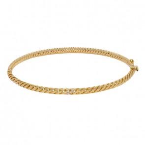 Bracelete em Ouro 18k Lumina Polido com 3 Brilhantes