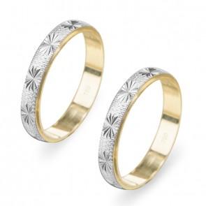 Aliança 3mm bodas de prata diamantada