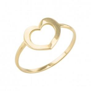Anel em Ouro 18k Forme  Coração Vazado Médio