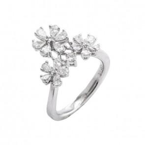 Anel flowers com Diamantes