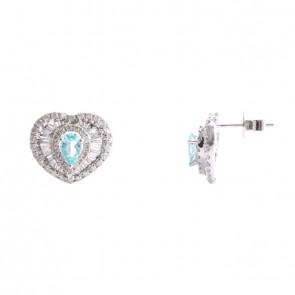 Brinco coração com Diamantes e Turmalina Paraíba