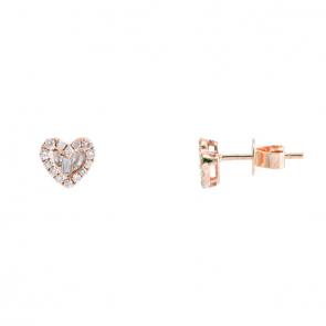Brinco coração rose com Diamantes