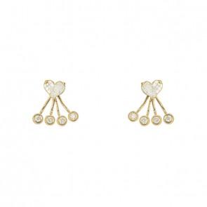 Brinco Ear Jacket círculos e coração com Diamantes