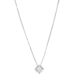 Gargantilha branca ponto de luz com Diamante 50 pontos