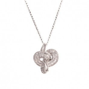 Gargantilha cobra branca com 320 Diamantes 1.45cts.