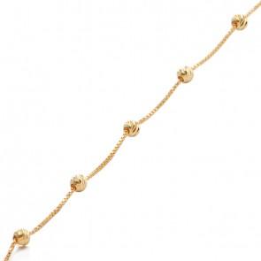 Pulseira veneziana bolinhas diamantadas 15cm